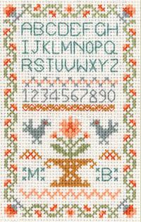 mini traditional ABC sampler cross stitch