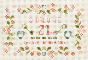 18th & 21st birthday Sampler cross stitch kit