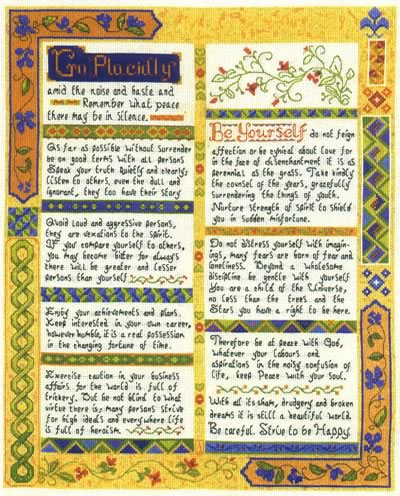 Desiderata cross stitch Sampler kit