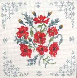 Poppies sampler cross stitch kit