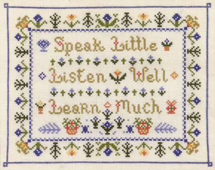 folk saying sampler cross stitch kit