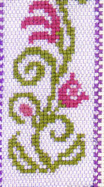 detail of Enjoy Idling Sampler cross stitch kit