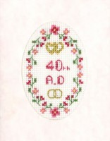 mini 40th Anniversary card cross stitch