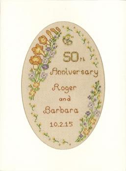 Garland Golden Anniversary card cross stitch