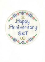 mini Happy Anniversary cross stitch card