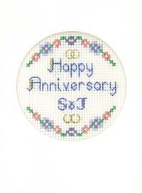 mini Happy Anniversary card cross stitch kit