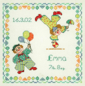 Clowns birth sampler cross stitch kit