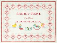 pink birth sampler cross stitch