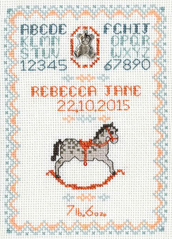 Rocking Horse Birth Sampler cross stitch kit pink or blue