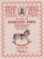 pink rocking horse birth sampler cross stitch kit