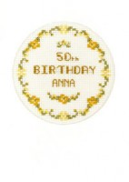 golden flowers birthday card cross stitch kit