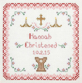 Pink Christening Sampler cross stitch