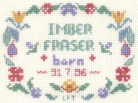 mini birth sampler cross stitch