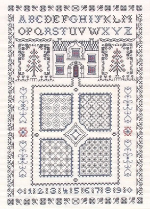 Blackwork Garden sampler cross stitch