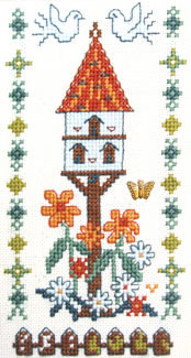 Dovecote with butterfly charm cross stitch kit