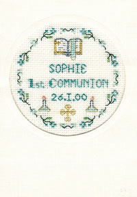 Blue 1st Communion card cross stitch kit