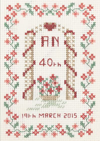 petite 40th Anniversary Sampler cross stitch kit