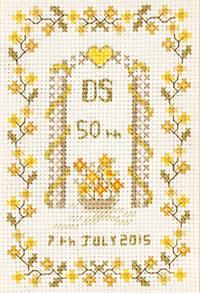 Small 50th Anniversary Sampler cross stitch kit