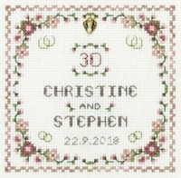 Heart Pearl Anniversary sampler cross stitch kit