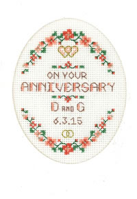 General Anniversary card cross stitch kit