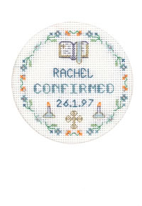 Blue Confirmation card cross stitch