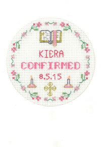 Pink Confirmation card cross stitch