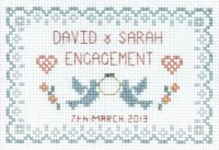 Small Engagement sampler cross stitch kit