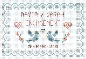 petite Engagement sampler cross stitch kit