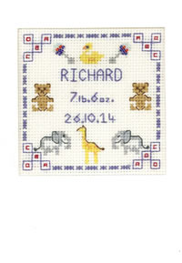Blue New baby card cross stitch