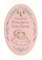 cross stitch Pink New Arrival card