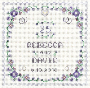 Heart silver Anniversary sampler cross stitch kit