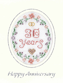 mini 30th Anniversary card cross stitch card