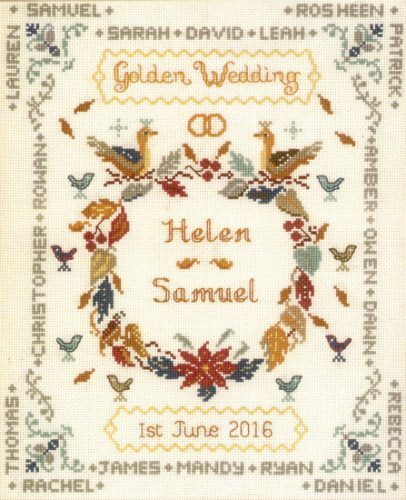 Golden Wedding anniversary cross stitch kit