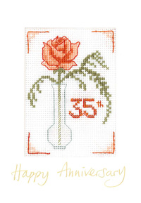Rose Coral Anniversary card cross stitch