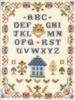 harvest traditional sampler cross stitch kit