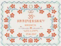 Coral wedding anniversary cross stitch kit