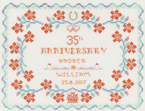 Coral wedding anniversary cross stitch kit