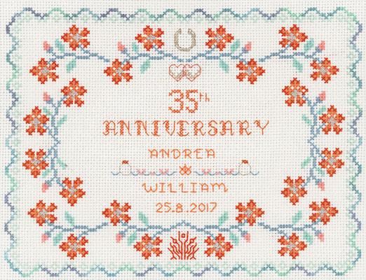 35th wedding anniversary cross stitch kit