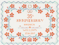 coral anniversary sampler cross stitch