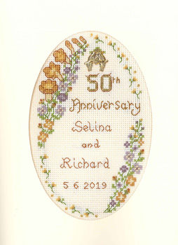 Cross stitch card for a Coral Wedding Anniversary complete kit on 16 aida
