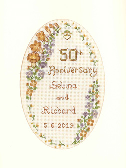 Garland Golden Anniversary card cross stitch