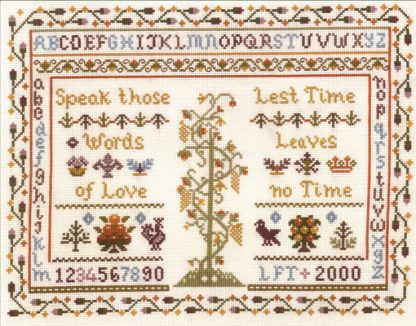 Words of love traditional sampler cross stitch kit