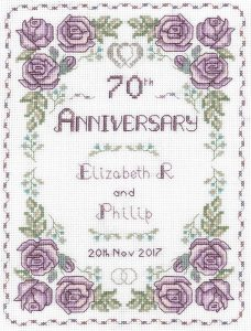 Rose 70th Anniversary sampler cross stitch
