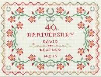 40th Wedding Anniversary Sampler cross stitch kit