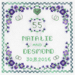 heart emerald anniversary cross stitch