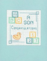 New Baby Boy card cross stitch greeting card