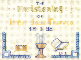 mini Christening sampler cross stitch kit
