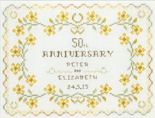 50th Wedding Anniversary Sampler cross stitch