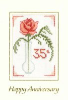 Rose Coral Anniversary card cross stitch kit