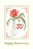 Coral Anniversary cross stitch card